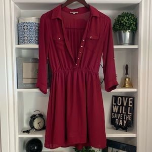 Charlotte Russe Shirt Dress in Red